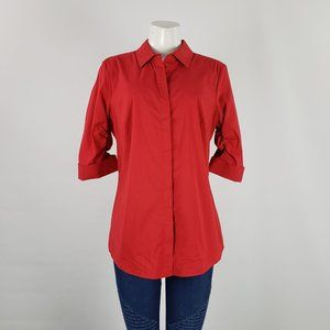 Le Chateau Red Button Up Top Size L
